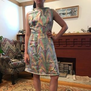 VTG Mod 60s Sherbert Shimmer Cocktail Dress Sm